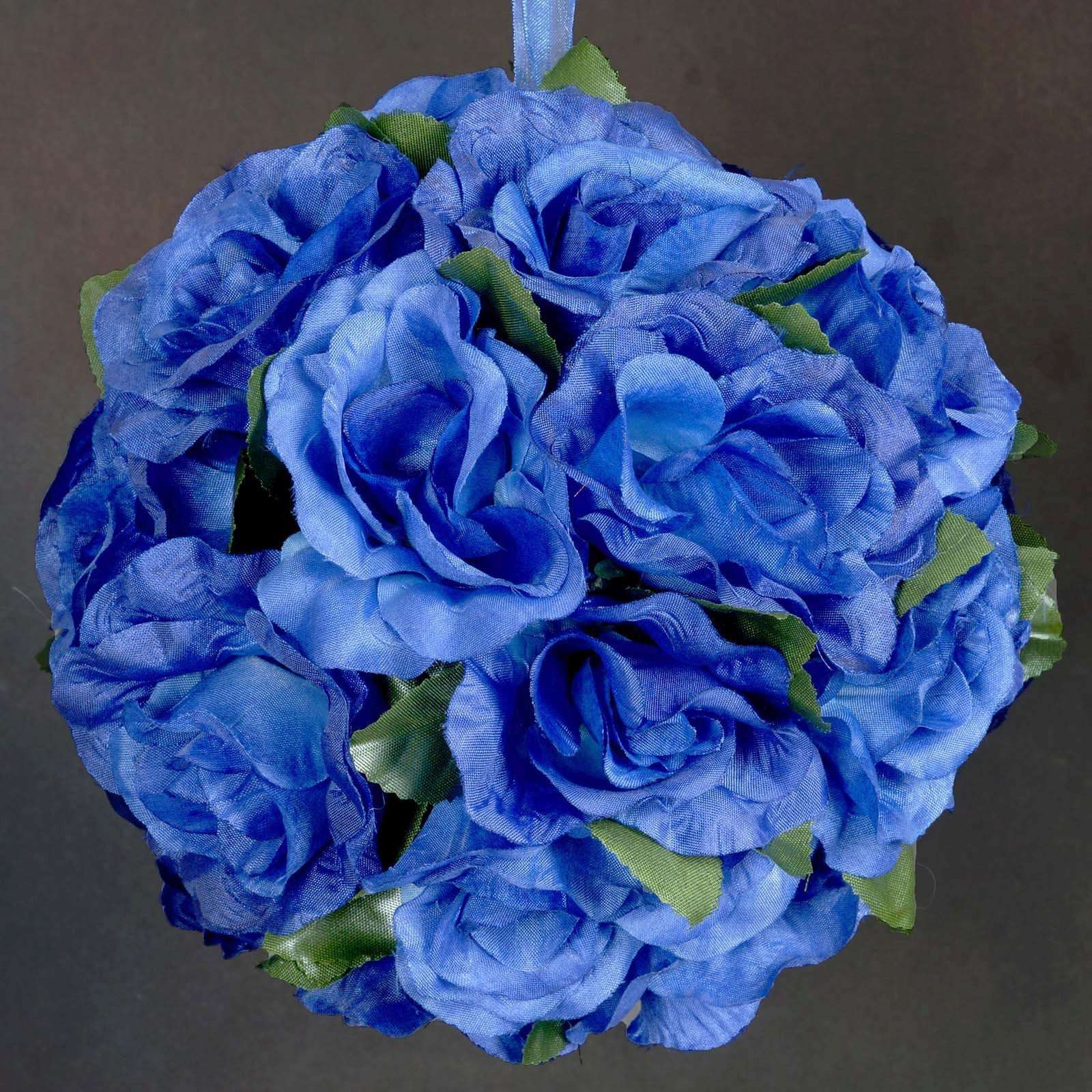 4 Pack 7 Royal Blue Silk Rose Pomander Kissing Flower Balls