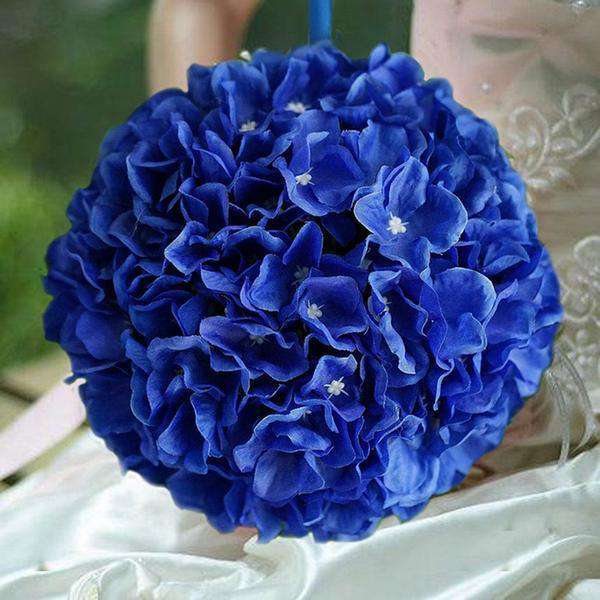 4 Pack 7 Royal Blue Silk Hydrangea Kissing Flower Balls Wedding