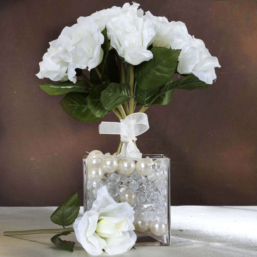 6 Bush 42 pcs Cream Artificial Open Roses Flower Bridal Bouquet Wedding Decoration