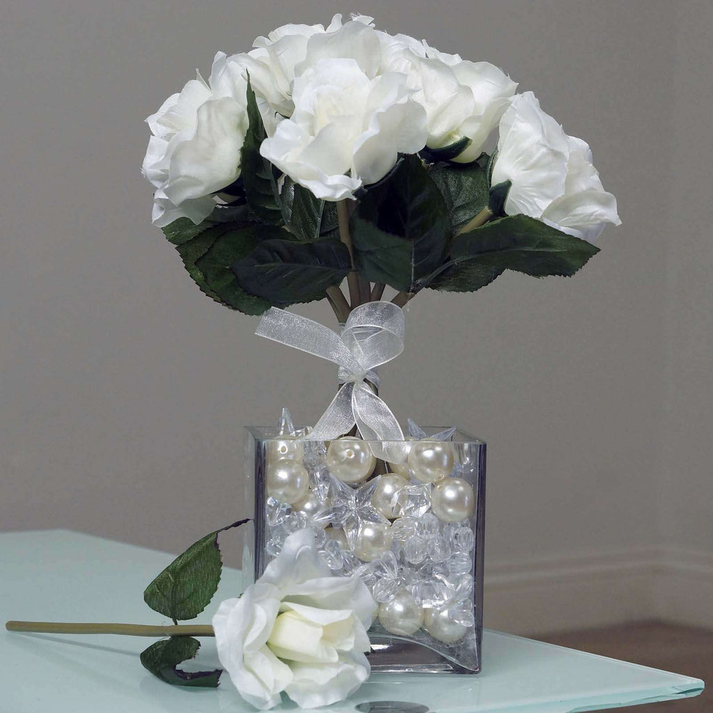 6 Artificial Open Roses Bouquet Wedding Vase Centerpiece Decor - Cream