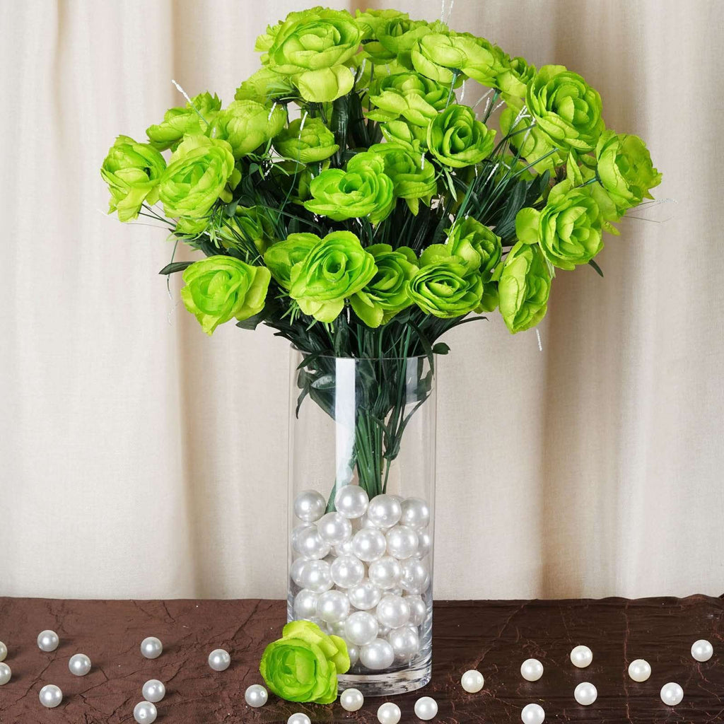 72 Artificial Buttercup Bulb Flowers Wedding Vase Centerpiece Decor -  Lime