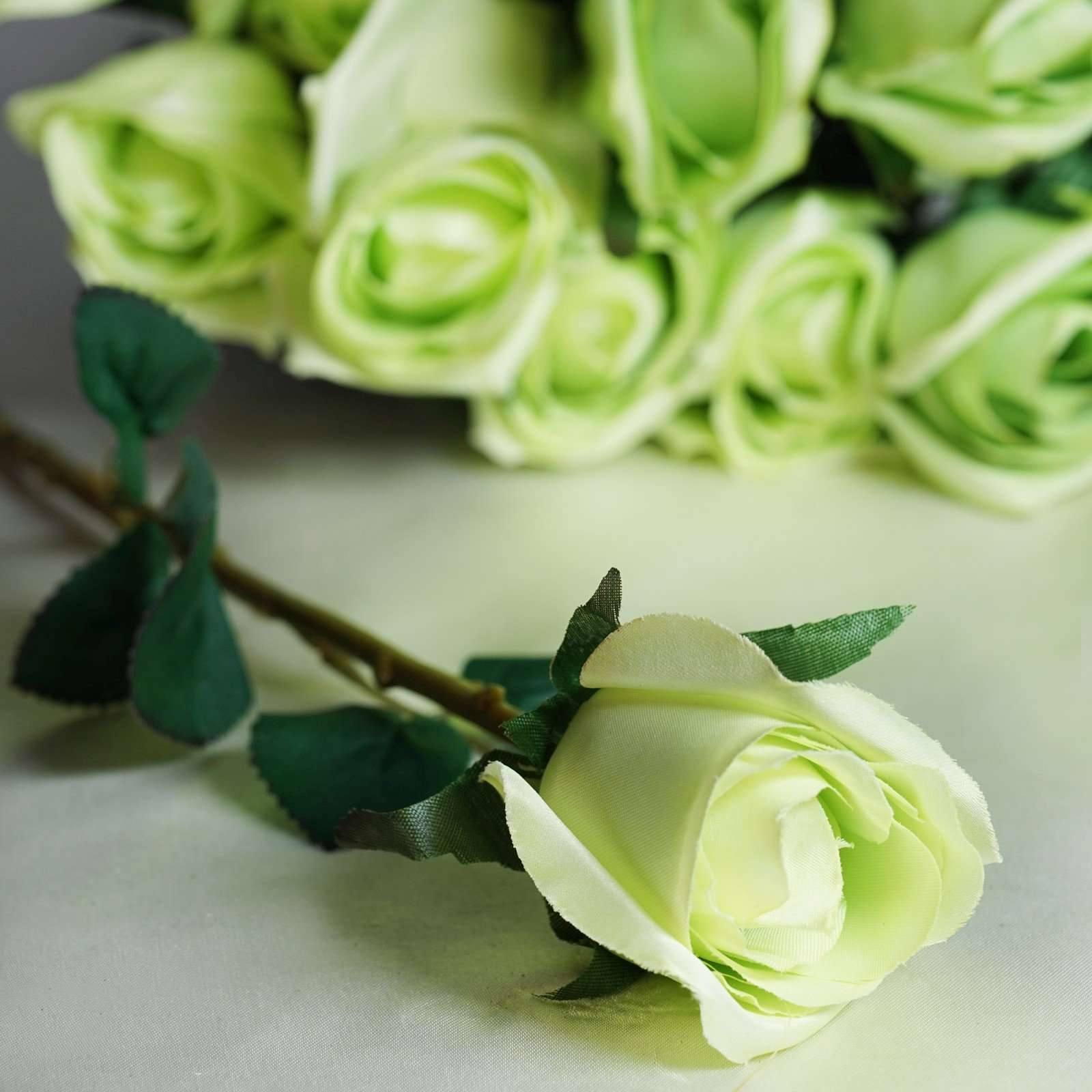 24 Pcs Lime Artificial Long Stem Silk Rose Flowers With Green Leaves