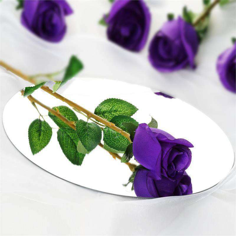 24 Artificial Long Stem Roses Wedding Bouquet Vase Centerpiece Floral Decoration - Purple