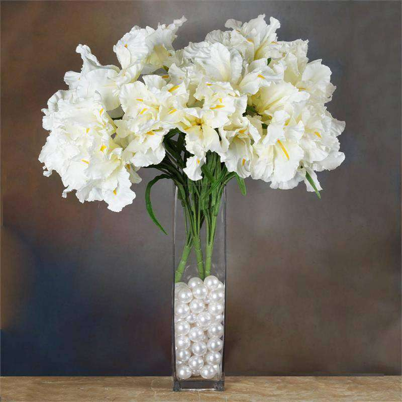 36 Artificial Large Iris Flowers Wedding Vase Centerpiece Floral Decor - Cream