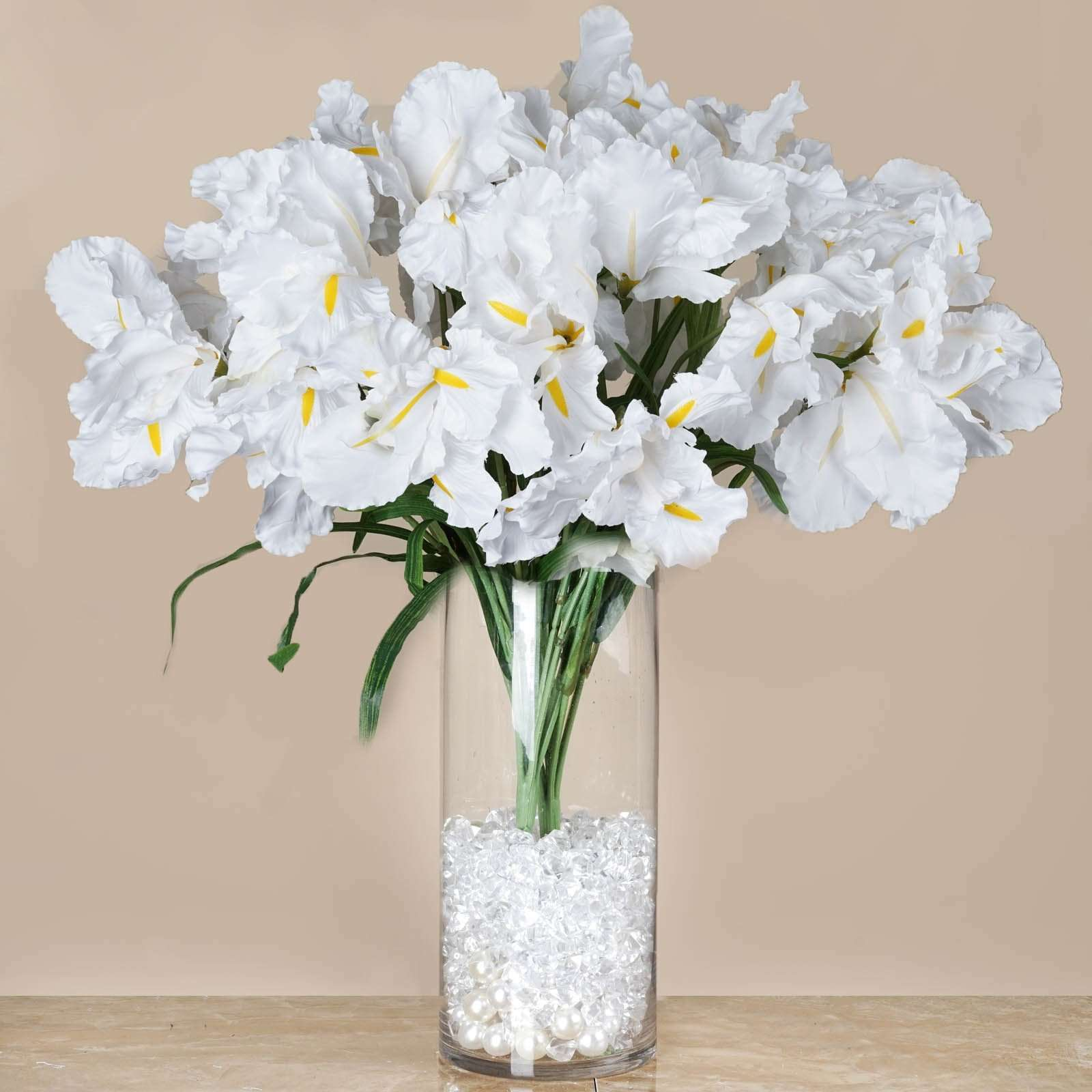 4 Bush 36 Pcs White Artificial Large Iris Flowers Bridal Bouquet