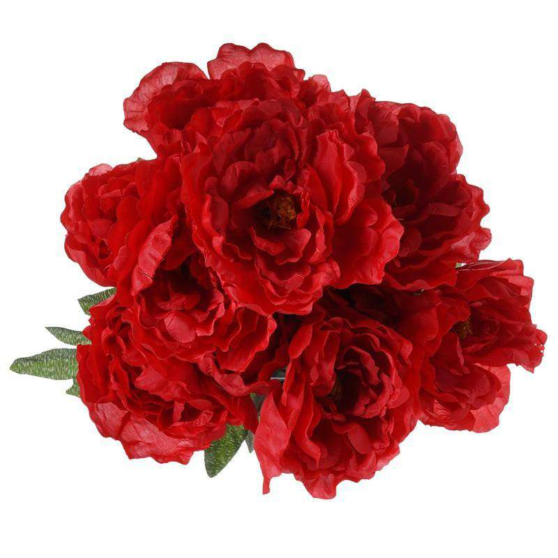 Artificial Peony Wedding Flower Bush Bouquet Centerpiece Decor - Buy 1 Get 3 Free - Red