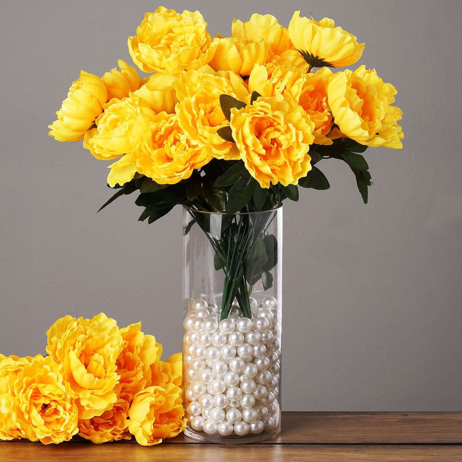 4 Pack 40 Pcs Yellow Artificial Silk Peony Flowers Bridal Bouquet