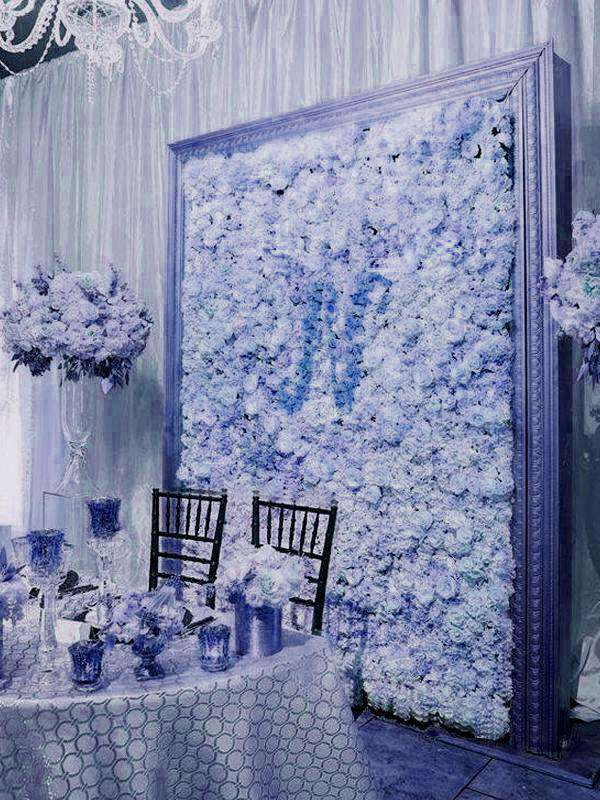 4 Pack 11 Sq Ft UV Protected Serenity Blue Hydrangea Flower Wall DIY Wedding Backdrop