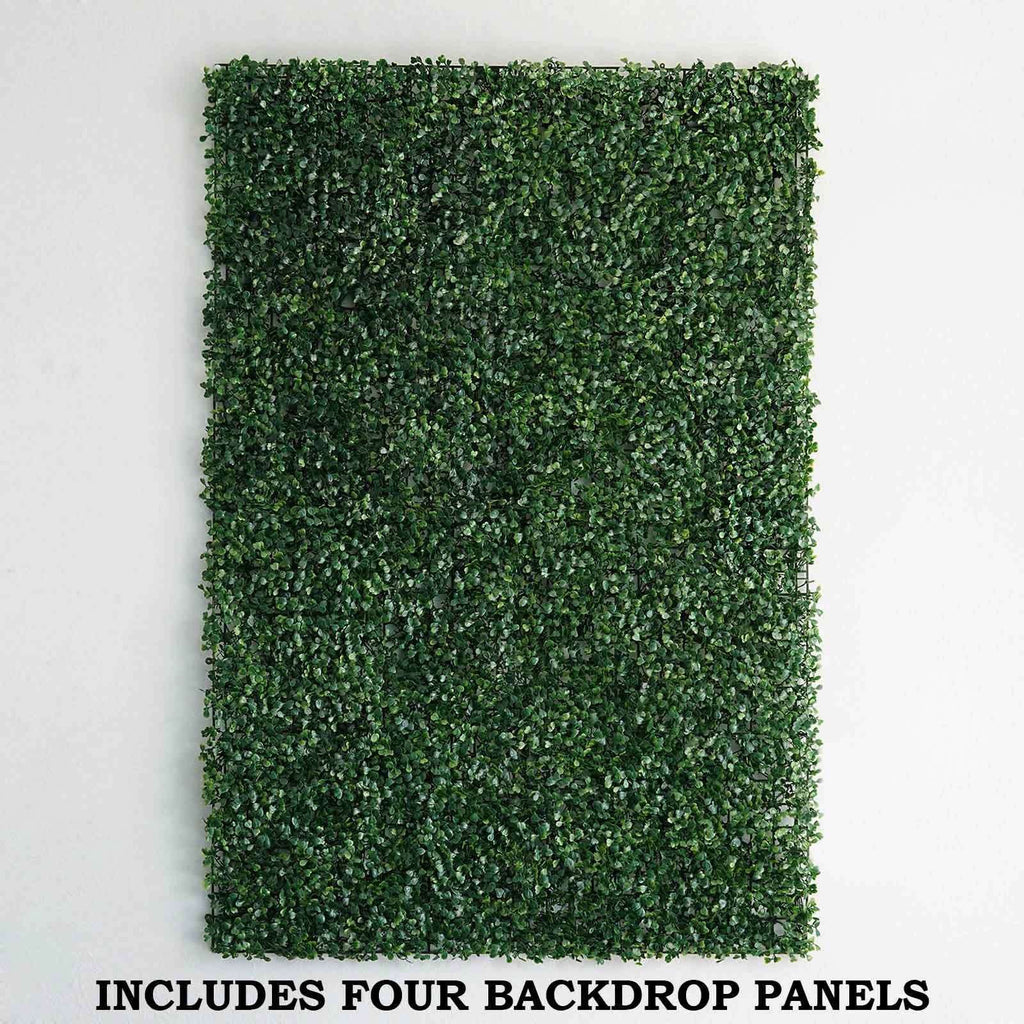 4 Pack 11 Sq ft. Artificial Boxwood Hedge Small Leaves Foliage Palm Leaves Honeysuckles Shrubs and Clovers Garden Wall Mat