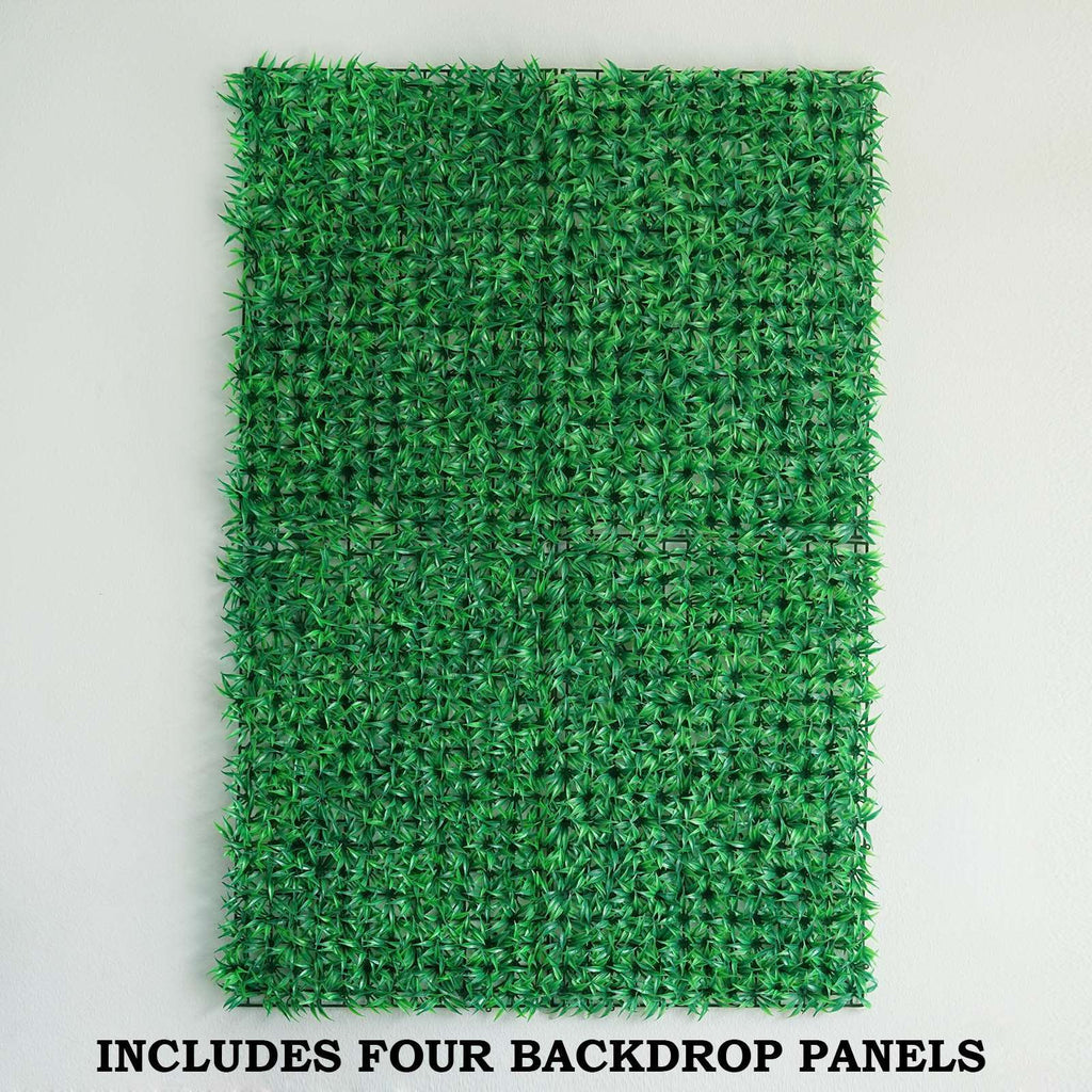 4 Pack Artificial Faux Foliage UV Protected Green Wall Mat Panel Photo Booth Garden Home Event