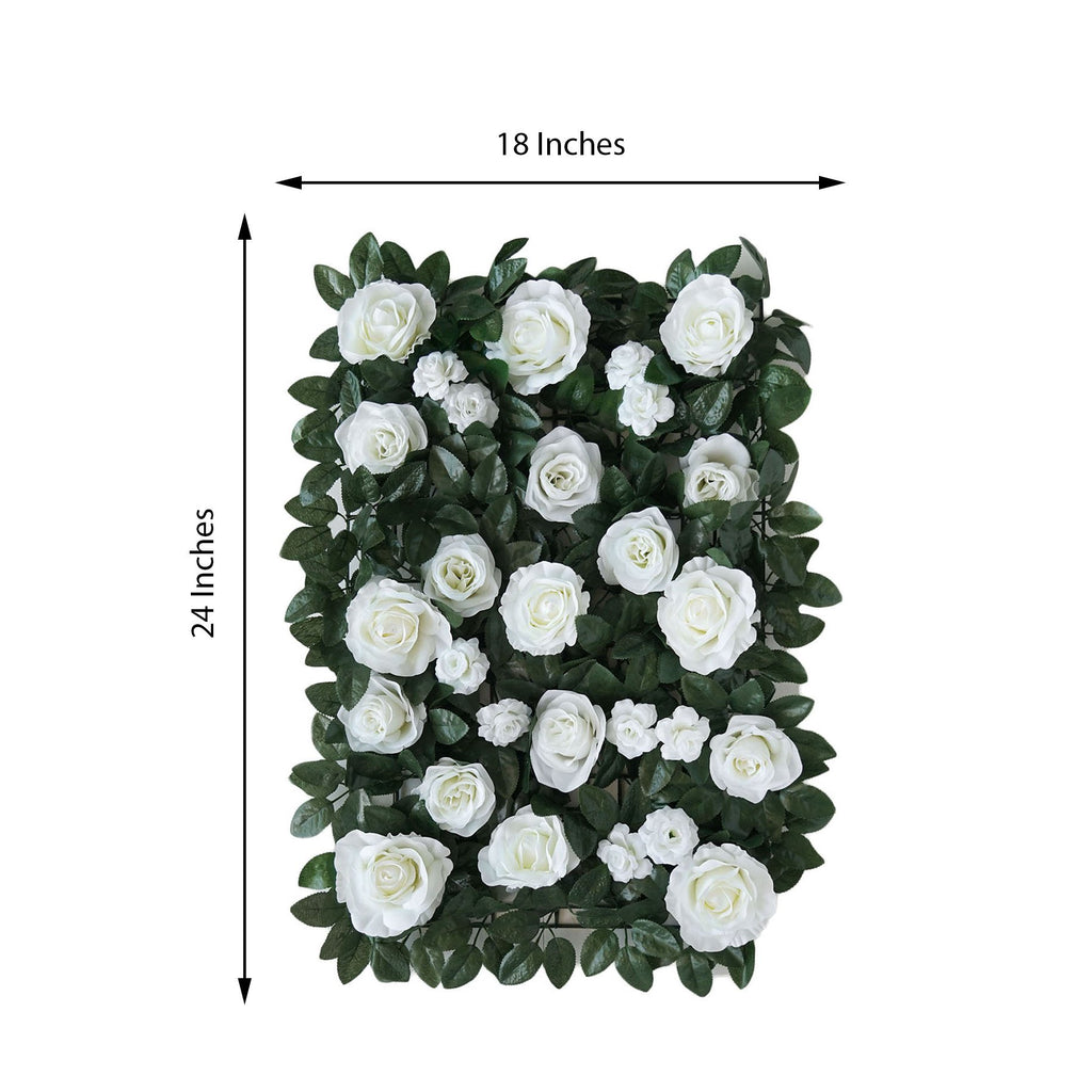3 Sq Ft | UV Protected White Rose Silk Flowers Greenery Wall Photo Backdrop Panel