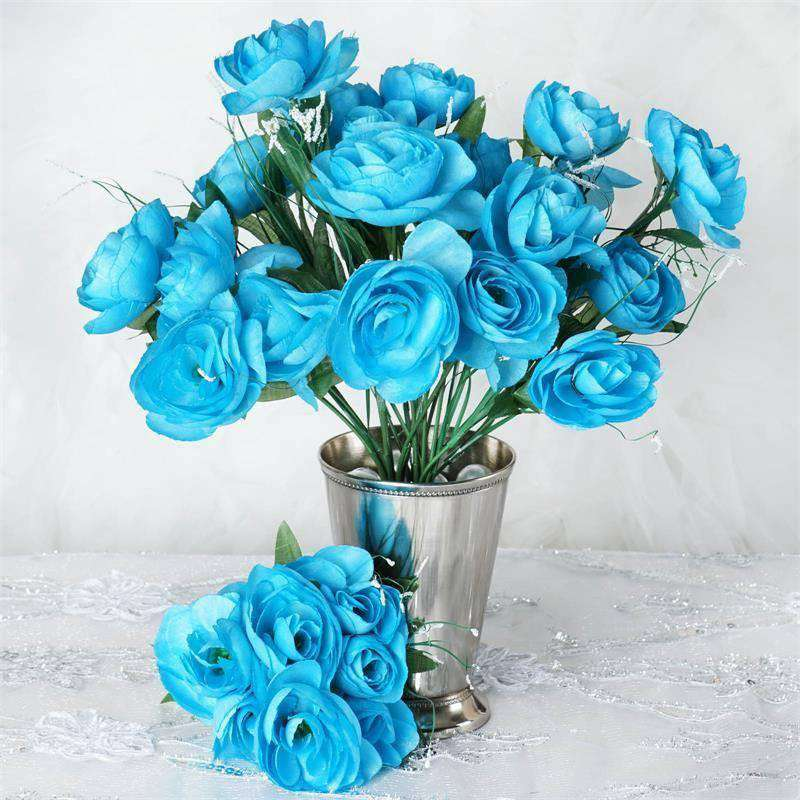 84 Artificial Silk Camelia Flowers Bouquet Wedding Vase Centerpiece Decor - Turquoise