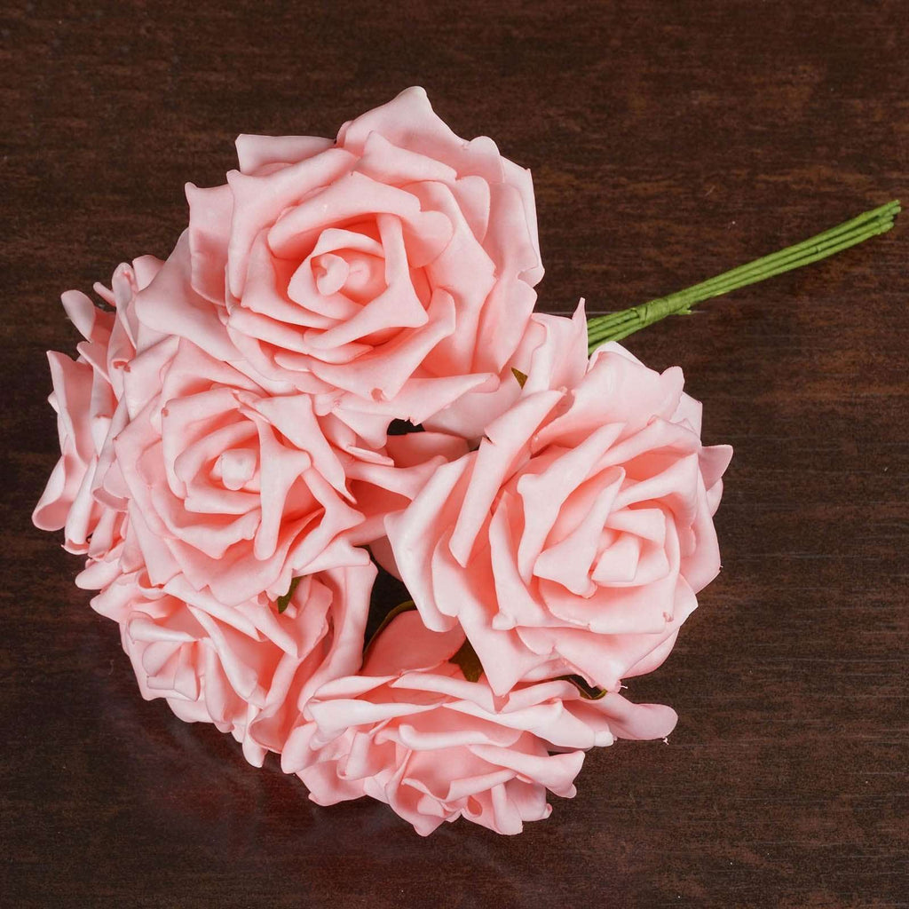 36 Artificial Foam Rose Flowers for Wedding Bouquet Vase Centerpiece Decor - Pink