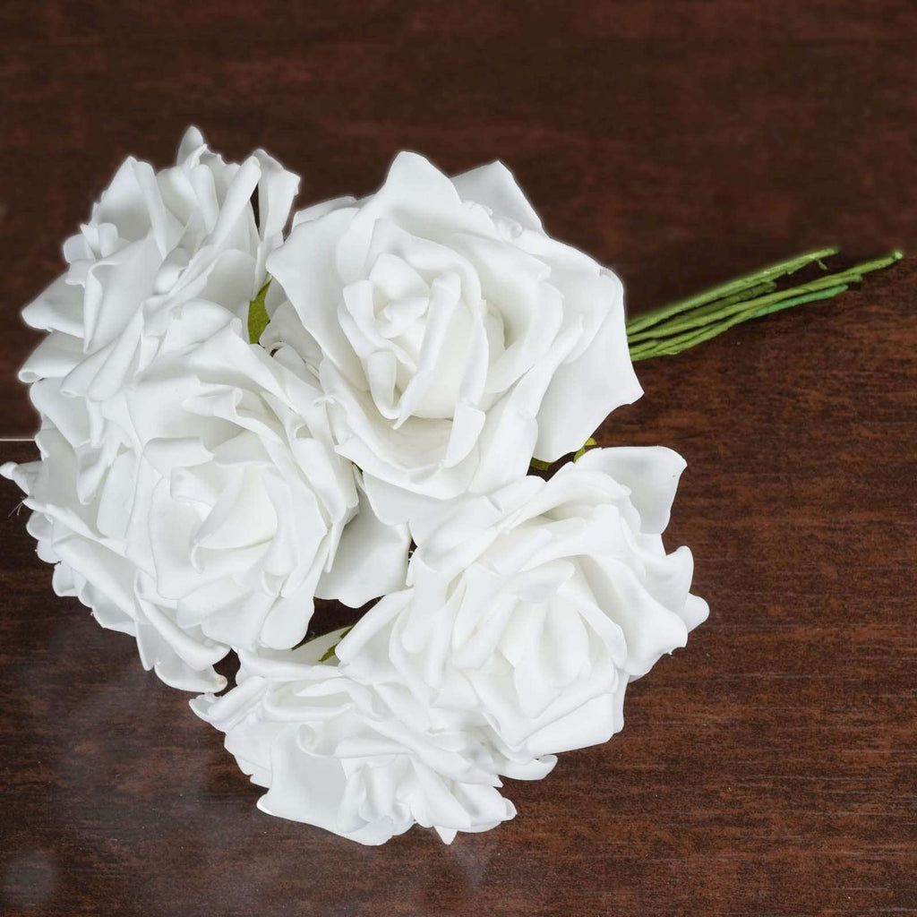 36 Artificial Foam Rose Flowers for Wedding Bouquet Vase Centerpiece Decor - White