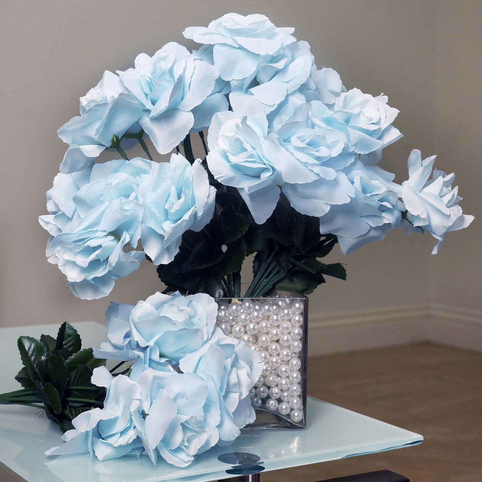 12 Bushes 84 Pcs Baby Blue Artificial Silk Rose Flowers With Green