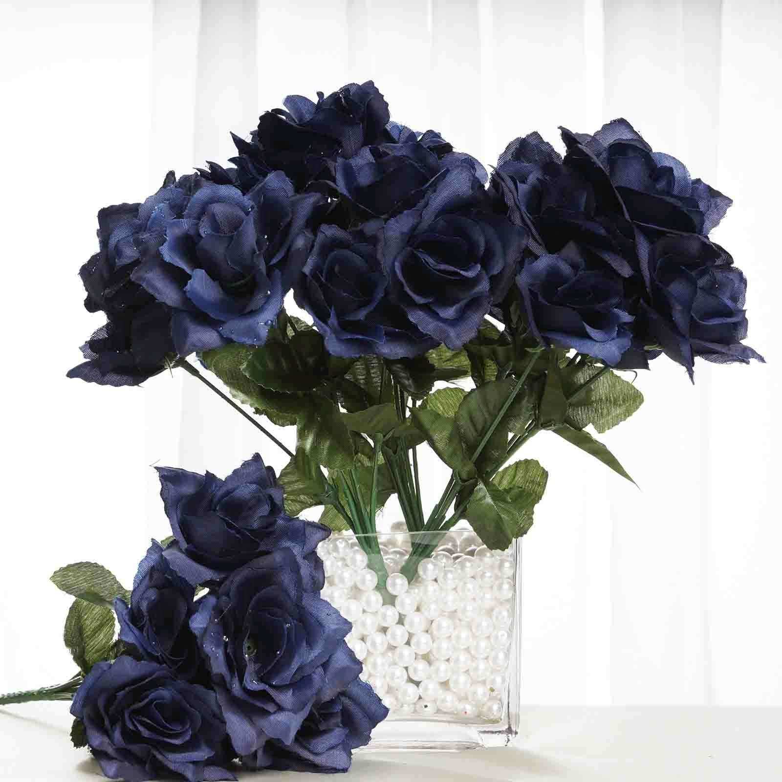 12 Bushes 84 Pcs Navy Blue Artificial Silk Rose Flowers With Green