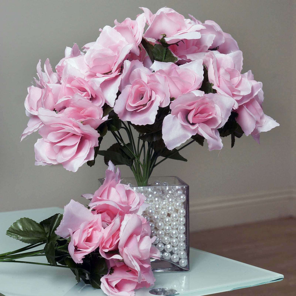 84 Artificial Silk Open Roses Wedding Flower Bouquet Centerpiece Decor - Pink
