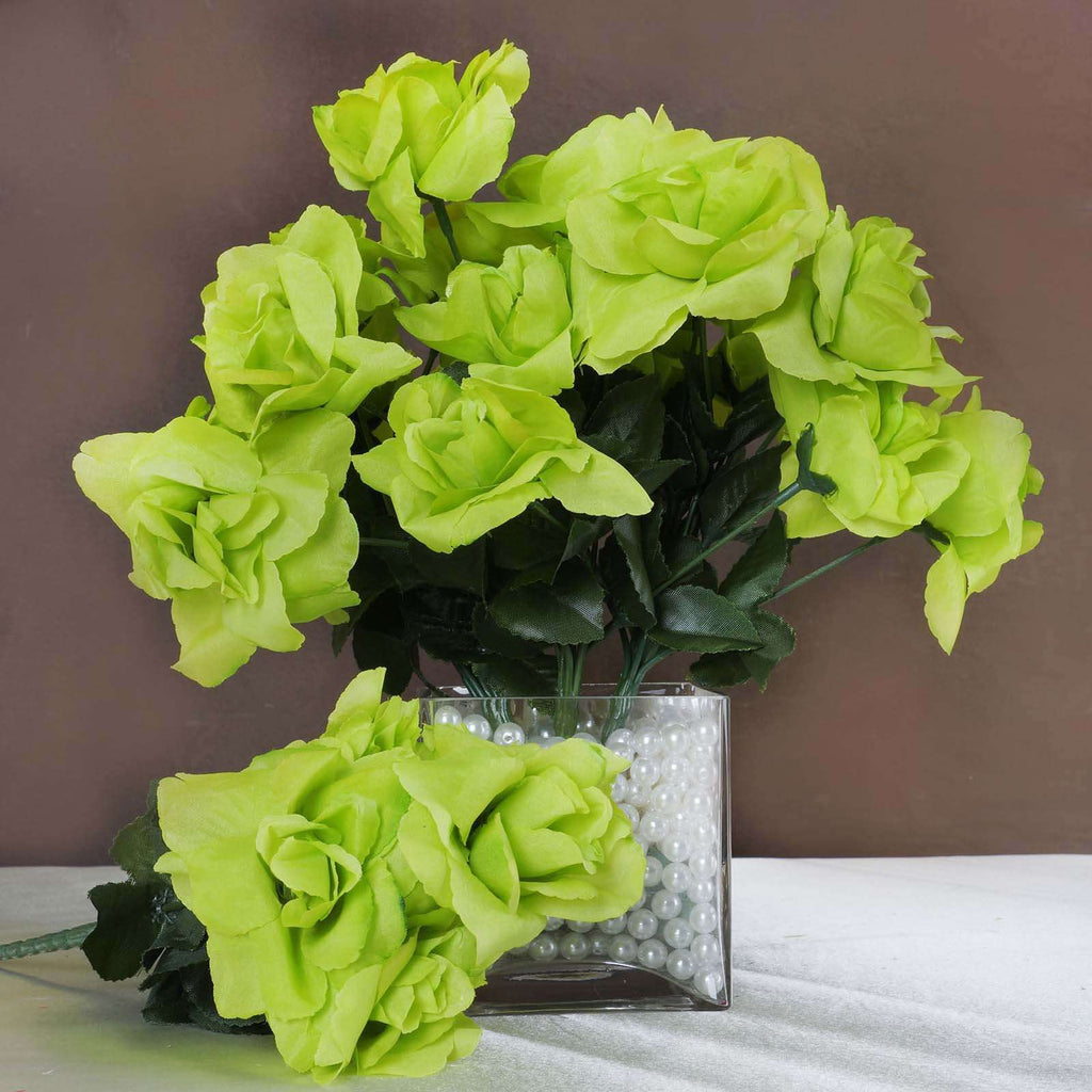 12 Bushes 84 pcs Sage Green Artificial Silk Rose Flowers With Green Leaves