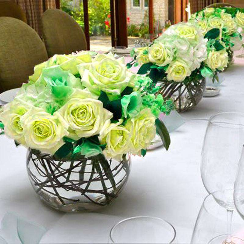 12 Bushes 84 pcs Yellow Artificial Silk Rose Flowers With Green Leaves Bridal Bouquet Wedding Decoration