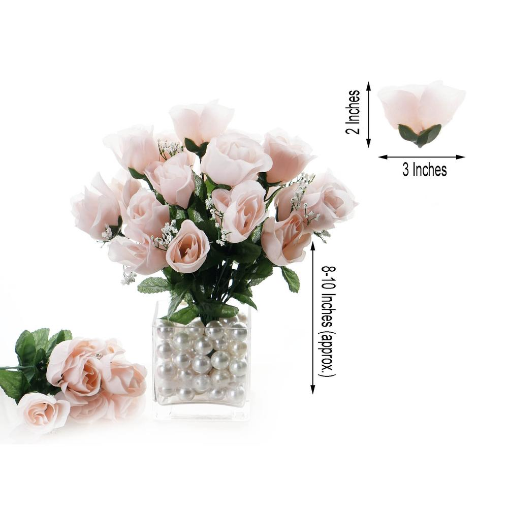 12 Bush 84 Pcs Blush Artificial Silk Rose Bud Flowers Wedding Bouquet Centerpiece Decoration