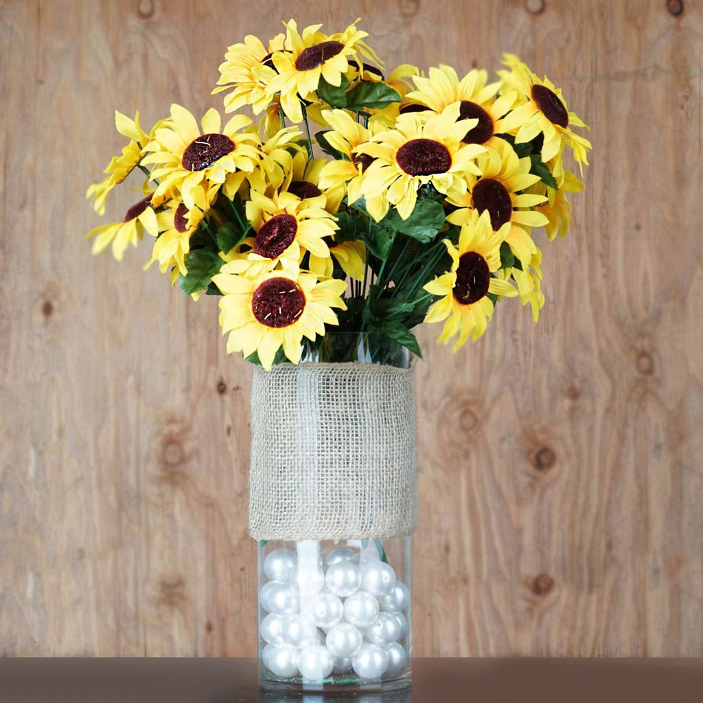 70 Artificial Silk Sunflower Wedding Bouquet Vase Centerpiece Decor-Yellow