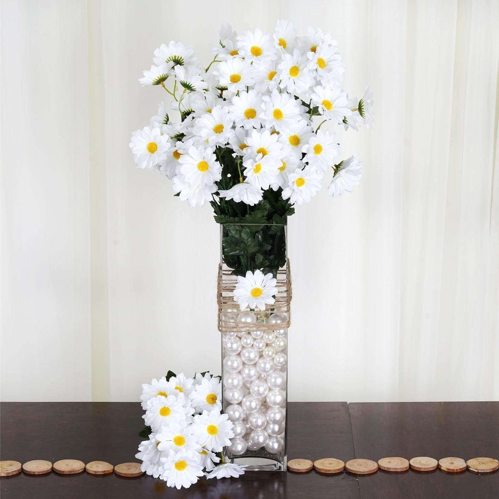 88 Wholesale Artificial Silk Daisy Wedding Vase Centerpiece Floral Decor - White