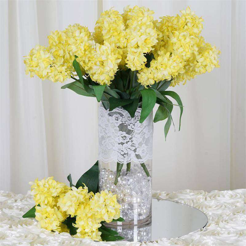25 Artificial Hyacinth Flowers Wedding Vase Centerpiece Decor - Yellow