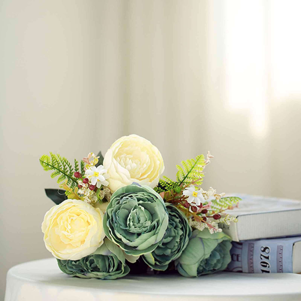 2 Bushes | 14 Pcs Aqua and Cream Peony Artificial Silk Flower Bouquets