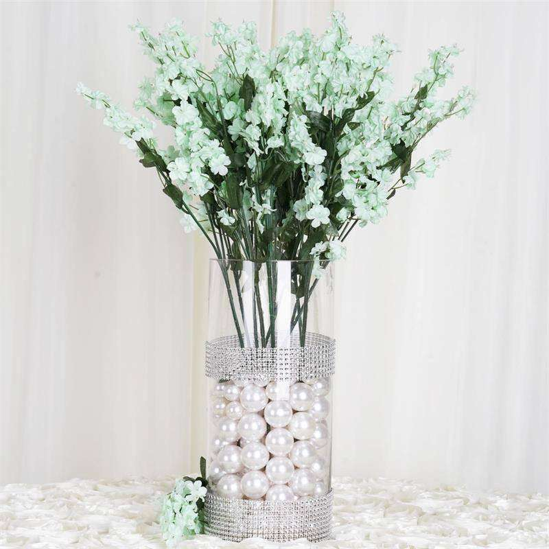 "20"" Artificial Silk Baby Breath Wedding Flower Bouquet Centerpiece Decor - Tea Green- 12 Stems/pk"