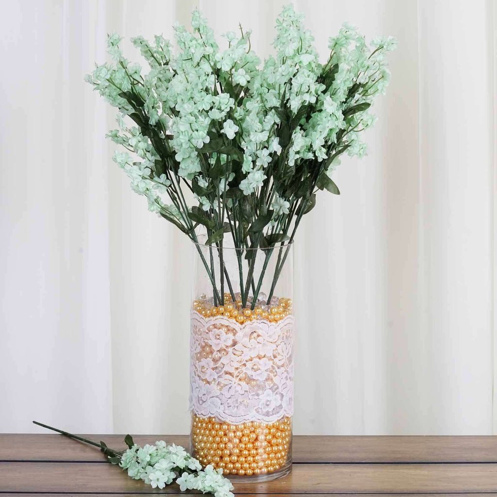 12 Bush 32 pcs Tea Green Artificial Silk Baby Breath Flowers Wedding Vase Decoration