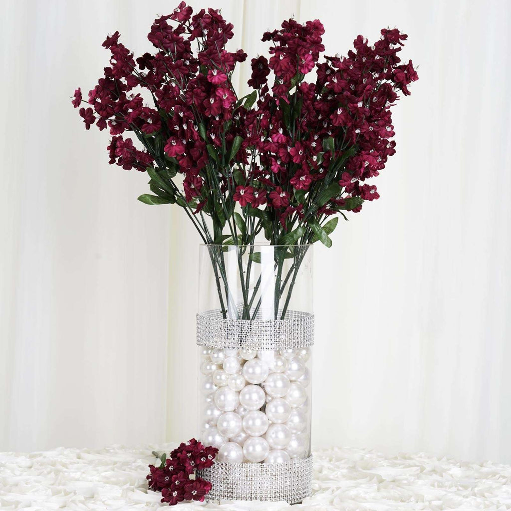 12 Bush 32 pcs Burgundy Artificial Silk Baby Breath Flowers Wedding Vase Decoration