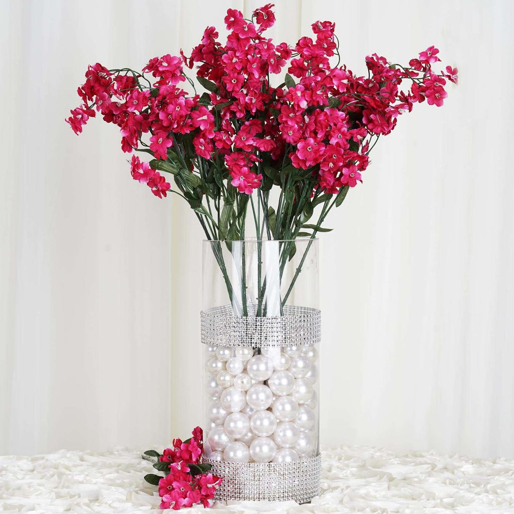 12 Bush 32 pcs Fushia Artificial Silk Baby Breath Flowers Wedding Vase Decoration