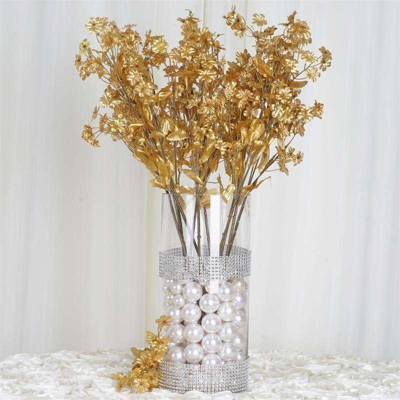 "20"" Artificial Silk Baby Breath Wedding Flower Bouquet Centerpiece Decor - Gold- 12 Stems/pk"
