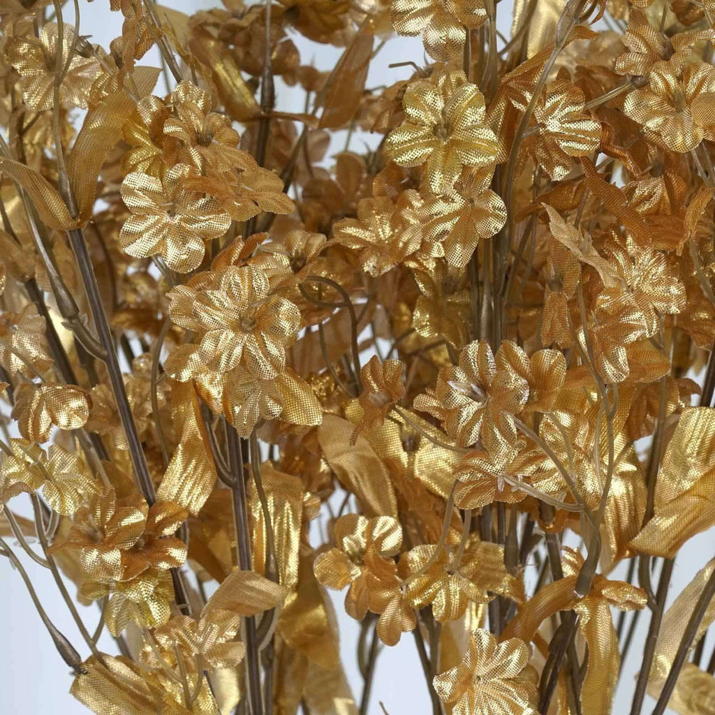 12 Bush 32 pcs Gold Artificial Silk Baby Breath Flowers Wedding Vase Decoration