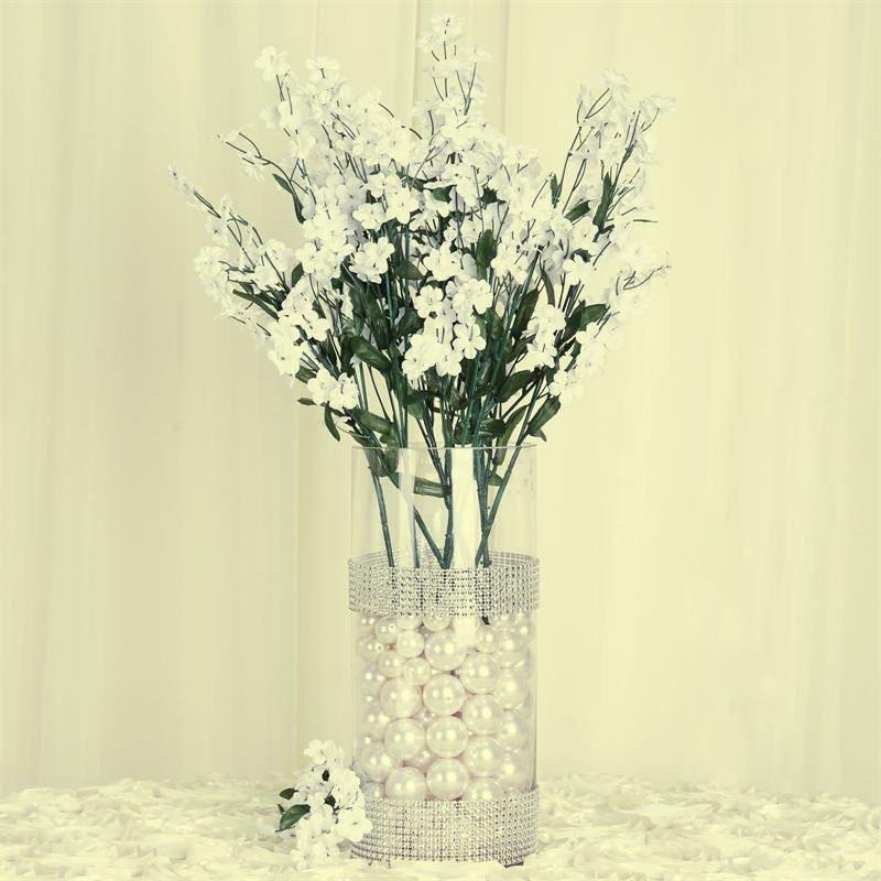 12 Bush 32 pcs Ivory Artificial Silk Baby Breath Flowers Wedding Vase Decoration