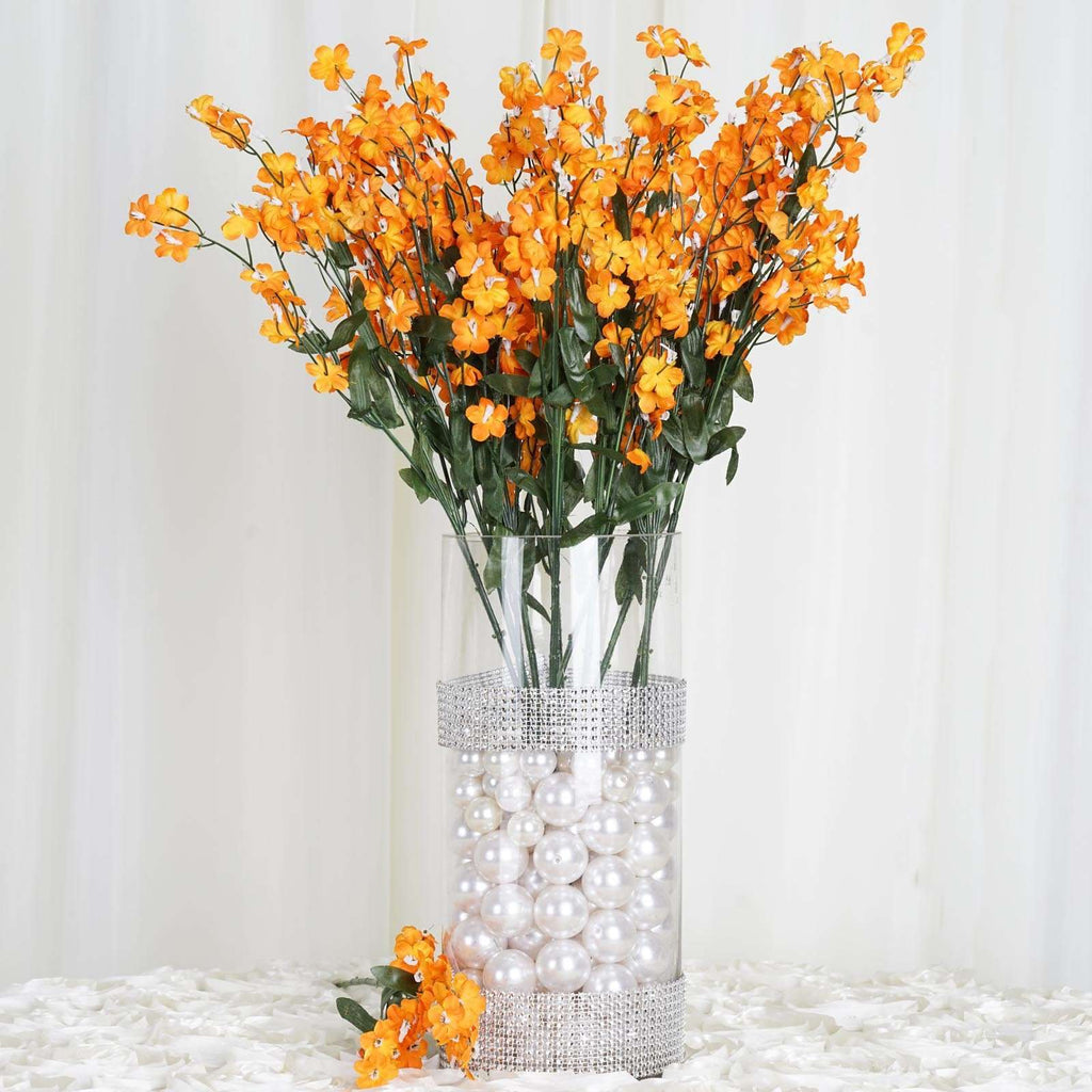12 Bush 32 pcs Orange Artificial Silk Baby Breath Flowers Wedding Vase Decoration