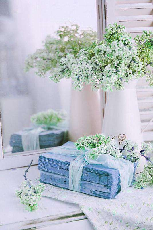 12 Bush 32 pcs Turquoise Artificial Silk Baby Breath Flowers Wedding Vase Decoration