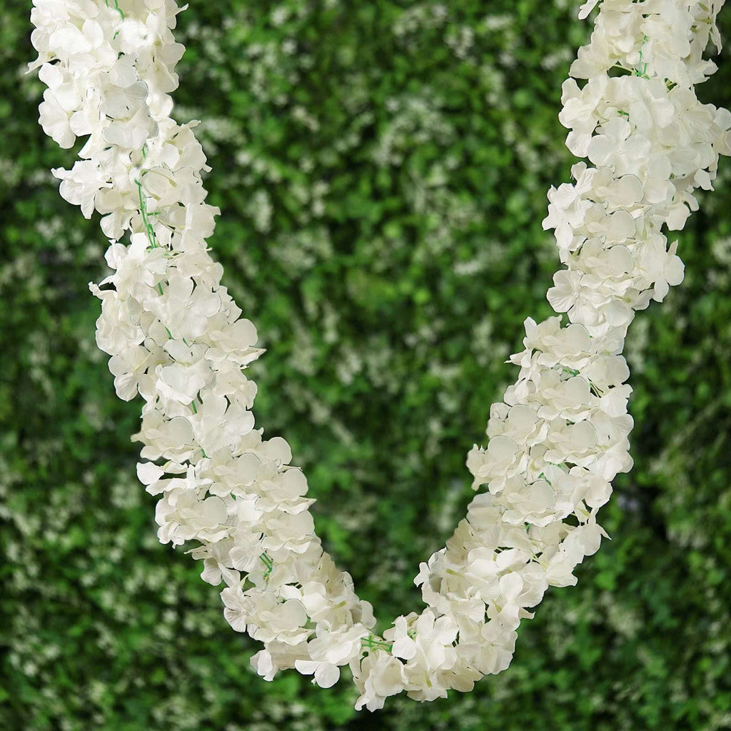 7 FT Cream Silk Hydrangea Artificial Flower Garland Wedding Decorative Flowers