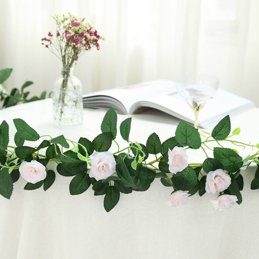 6 ft | Blush | Rose Gold | 20 Flowers | UV Protected Silk Rose Garland | Bendable Wire Vines | Artificial Flower Garlands with Leaves