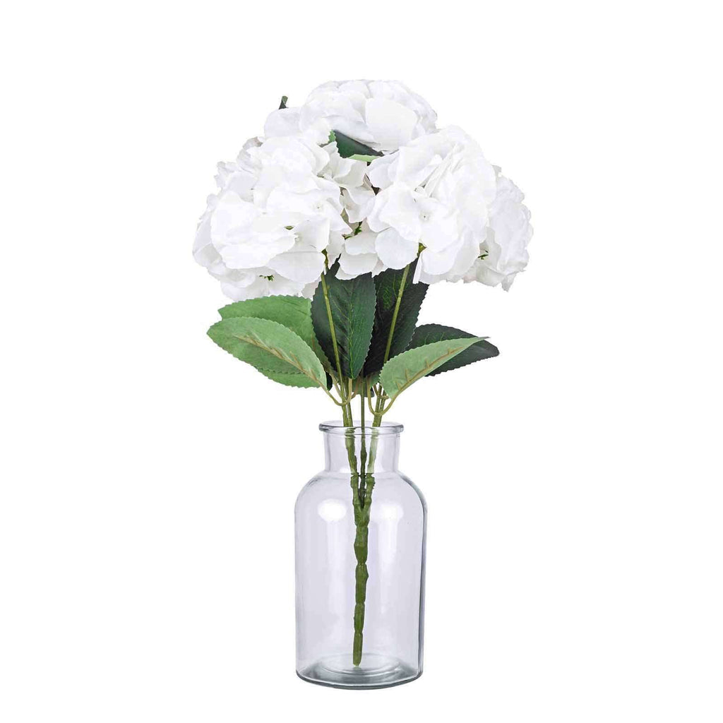 5 Pack | 25 Heads White Silk Hydrangea Artificial Flower Bushes Wedding Floral Arrangements