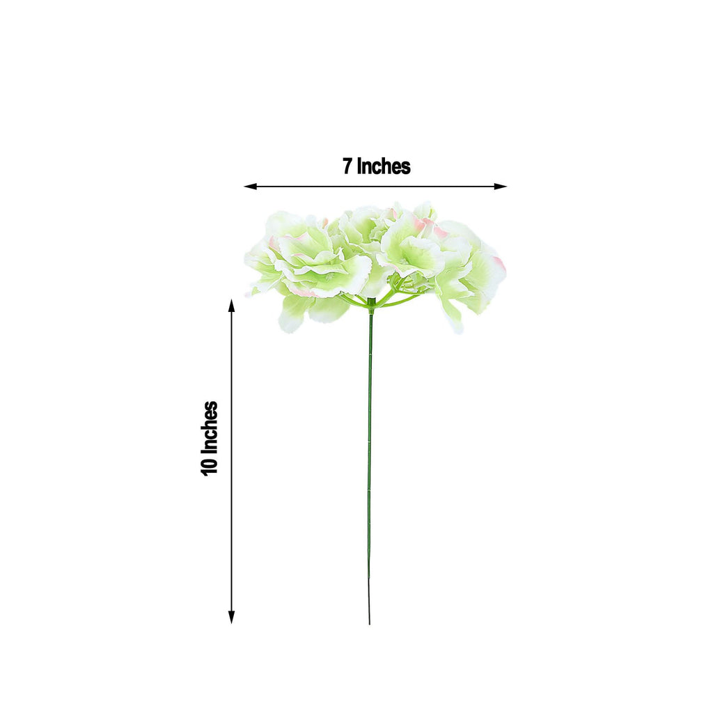 10 Pack - Lime Artificial Hydrangeas Head and Wire Stems - DIY Dual Tone Hydrangea Flower Arrangements