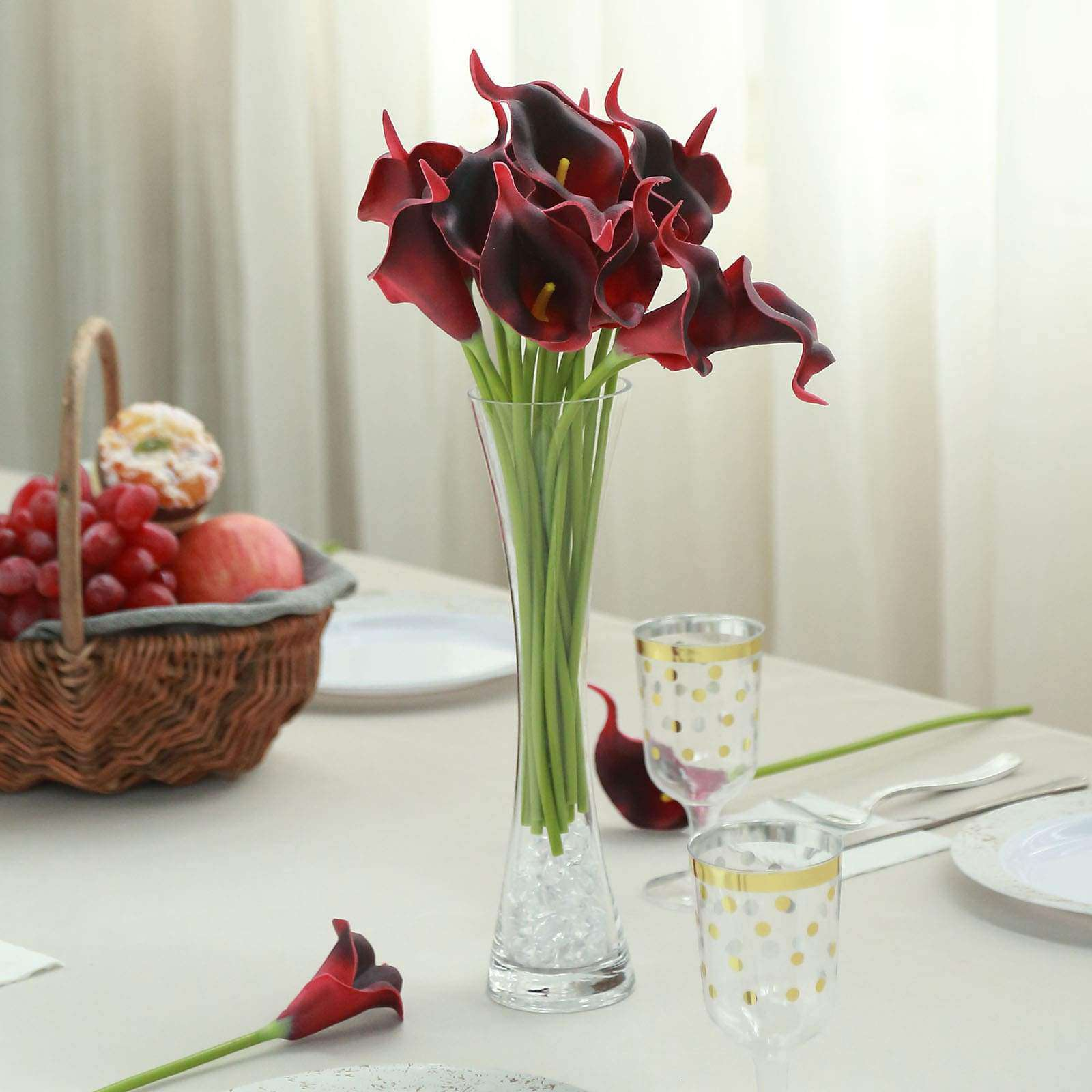 20 Pack 14 Tall Red Black Artificial Calla Lily Flowers