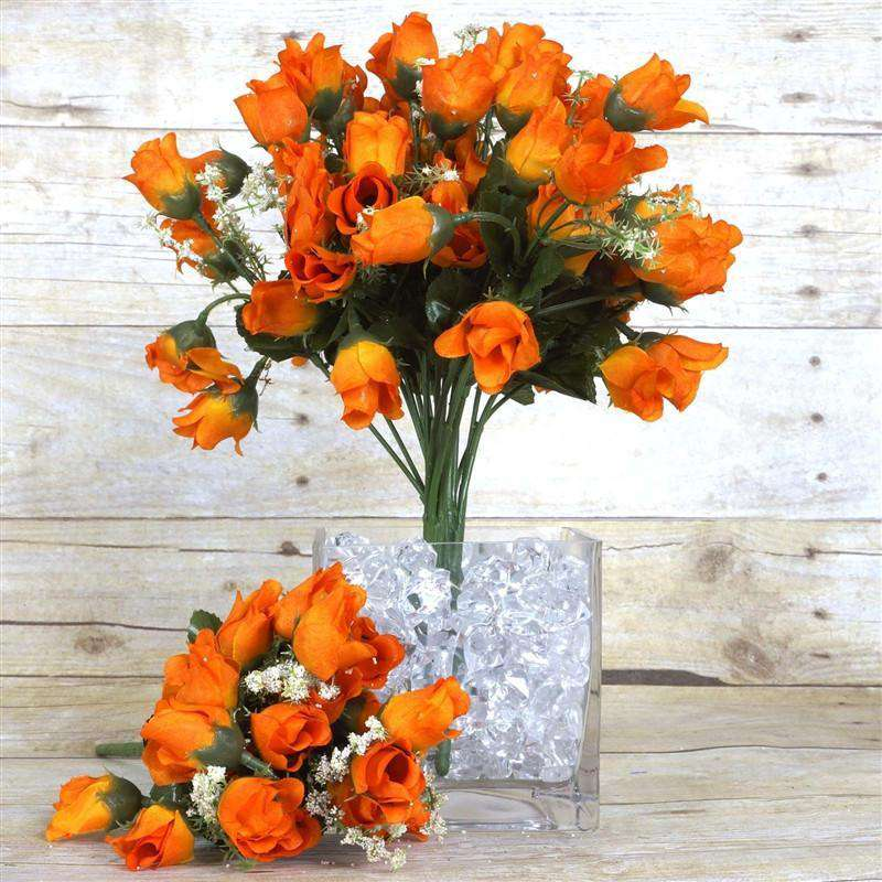 180 Artificial Silk Mini Rose Buds With Baby Breath Wedding Bouquet Vase Centerpiece Decor - Orange