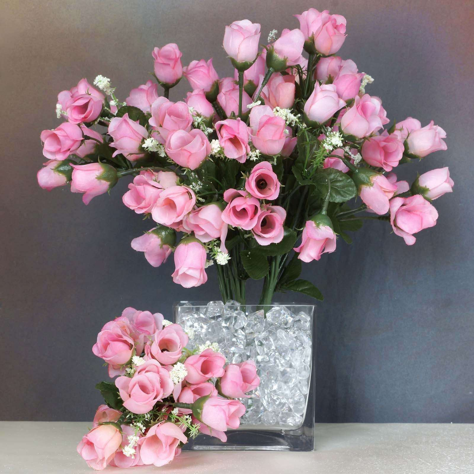 12 Bush 180 Pcs Pink Artificial Silk Rose Bud Flowers With Baby