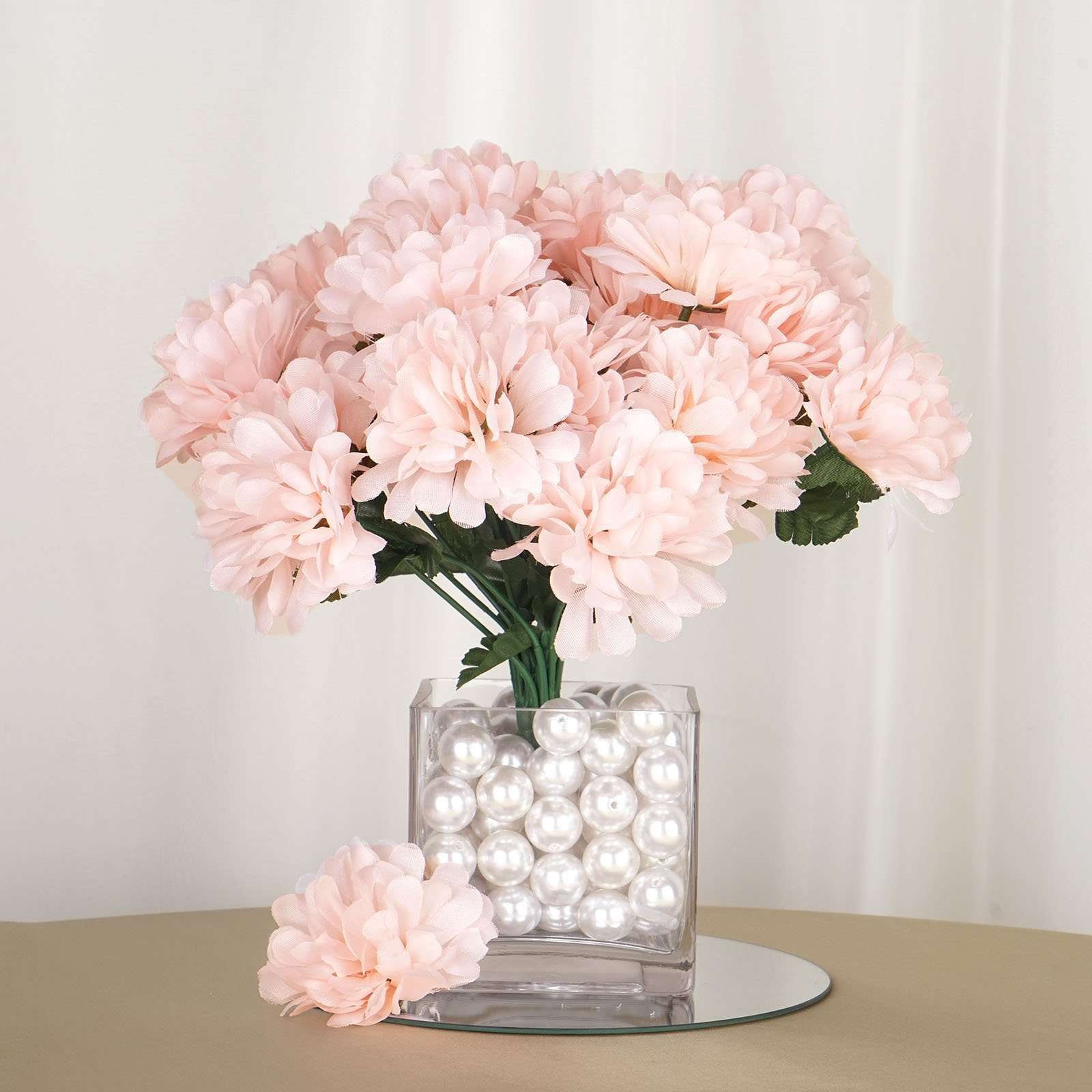 12 Bush 84 Pcs Blush Artificial Silk Chrysanthemum Flower Bridal