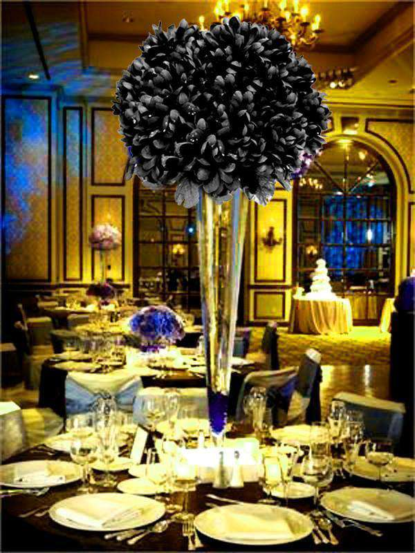 12 Bush 84 pcs Black Artificial Silk Chrysanthemum Flower Bridal Bouquet Wedding Decoration