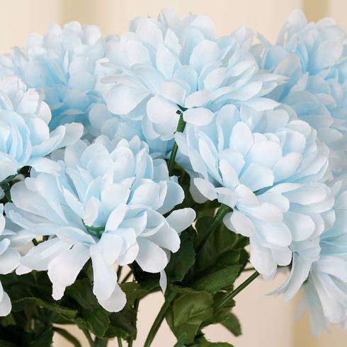 12 Bush 84 pcs Light Blue Artificial Silk Chrysanthemum Flower Bridal Bouquet Wedding Decoration