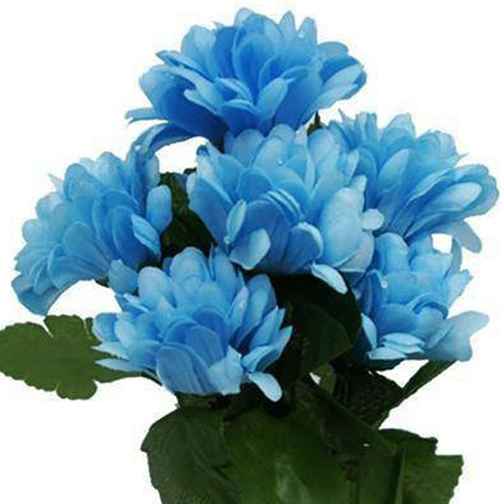 84 Artificial Silk Chrysanthemum Wedding Flower Bush Bouquet Centerpiece Decor - Light Blue