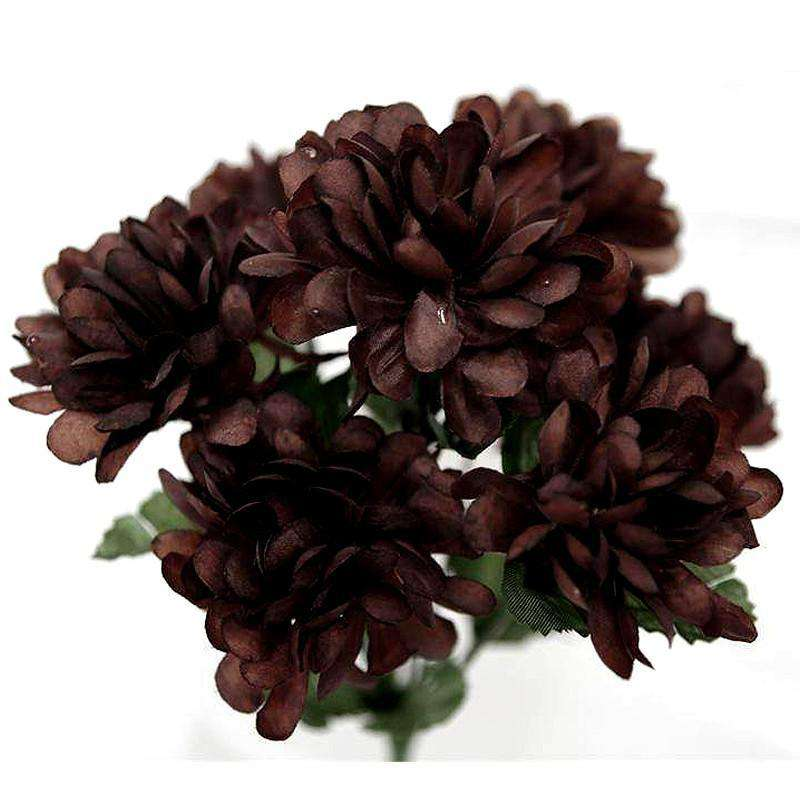 84 Artificial Silk Chrysanthemum Wedding Flower Bush Bouquet Centerpiece Decor - Chocolate
