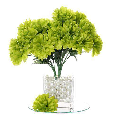 12 Bush 84 pcs Lime Artificial Silk Chrysanthemum Flower Bridal Bouquet Wedding Decoration